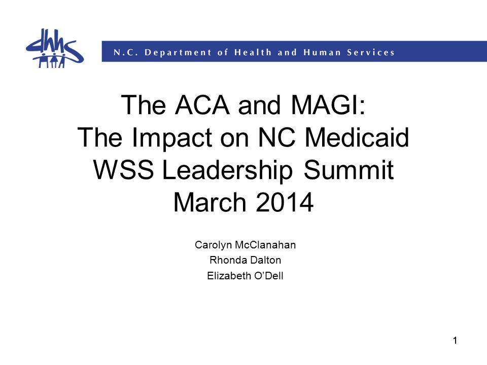 11 The ACA and MAGI: The Impact on NC Medicaid WSS Leadership Summit March 2014 Carolyn McClanahan Rhonda Dalton Elizabeth O'Dell