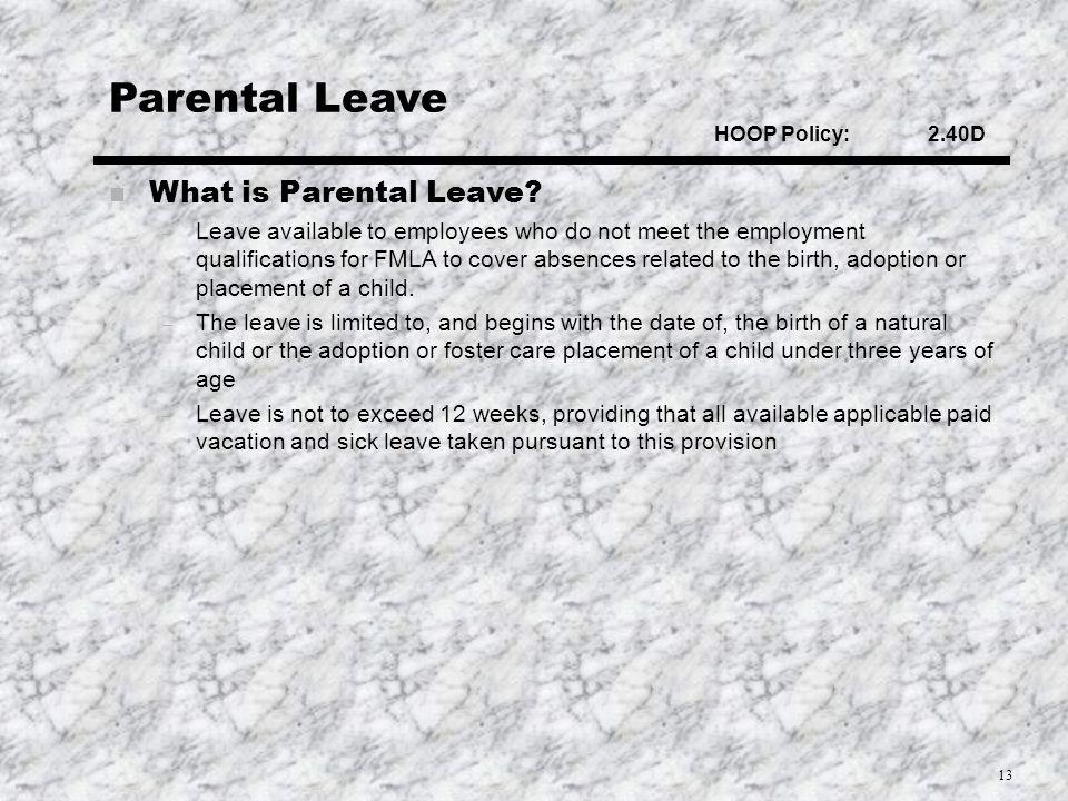 13 Parental Leave What is Parental Leave.