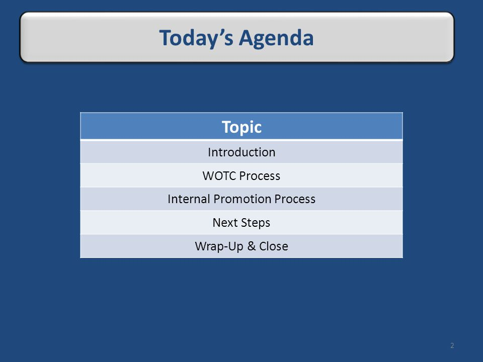 Topic Introduction WOTC Process Internal Promotion Process Next Steps Wrap-Up & Close 2 Today's Agenda