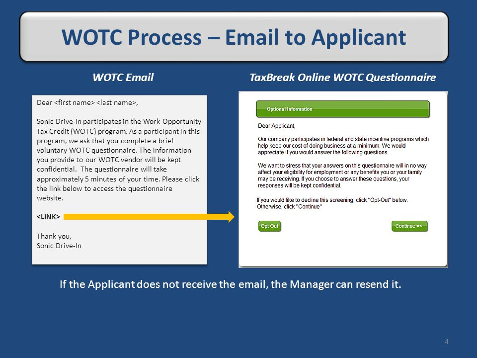 Live Review 4 WOTC Process – Email to Applicant If the Applicant does not receive the email, the Manager can resend it. Dear, Sonic Drive-In participa