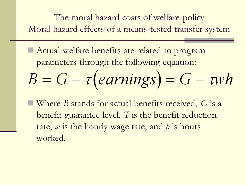 The moral hazard costs of welfare policy Moral hazard effects of a means-tested transfer system Actual welfare benefits are related to program paramet
