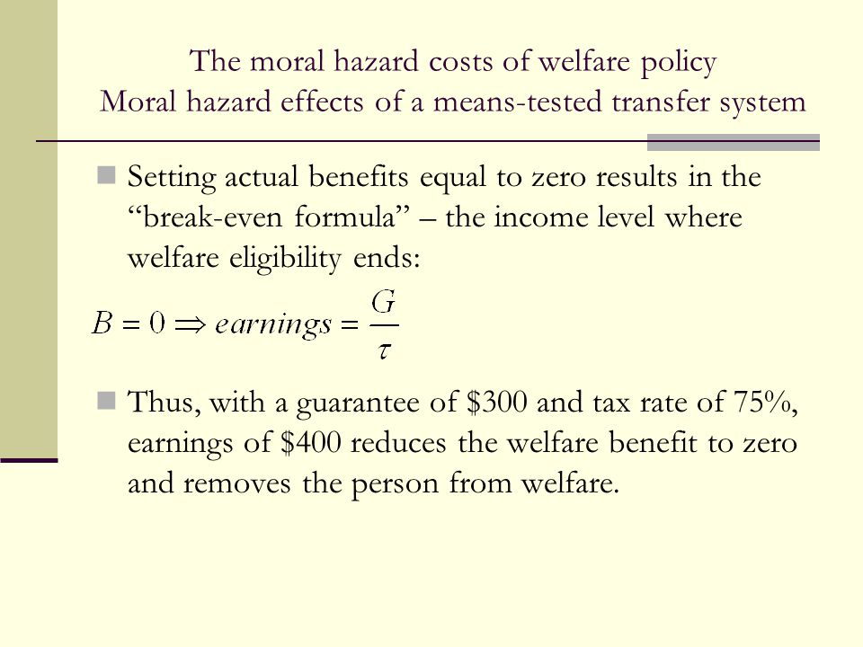 """The moral hazard costs of welfare policy Moral hazard effects of a means-tested transfer system Setting actual benefits equal to zero results in the """""""