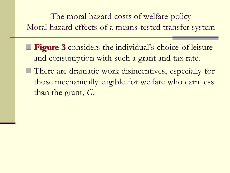 The moral hazard costs of welfare policy Moral hazard effects of a means-tested transfer system Figure 3 Figure 3 considers the individual's choice of
