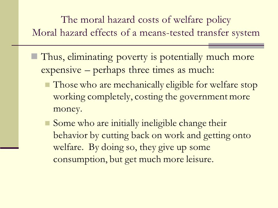 The moral hazard costs of welfare policy Moral hazard effects of a means-tested transfer system Thus, eliminating poverty is potentially much more exp