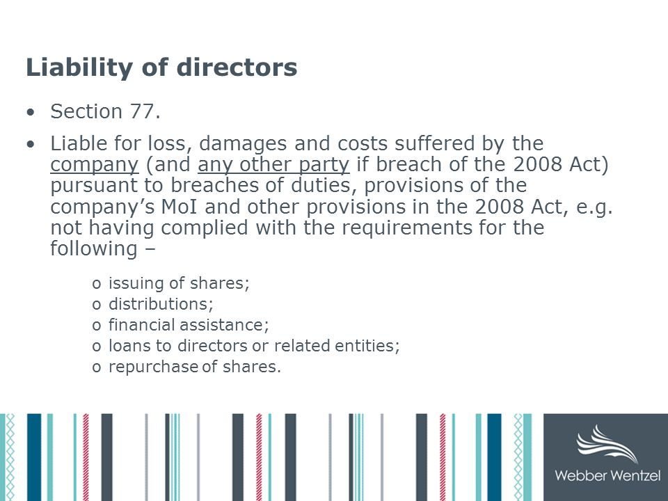 Liability of directors Section 77.