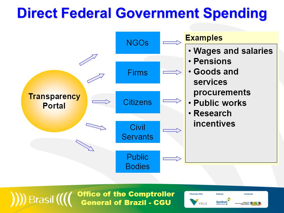 Office of the Comptroller General of Brazil - CGU Examples Direct Federal Government Spending Citizens Firms Public Bodies NGOs Civil Servants Wages and salaries Pensions Goods and services procurements Public works Research incentives Transparency Portal