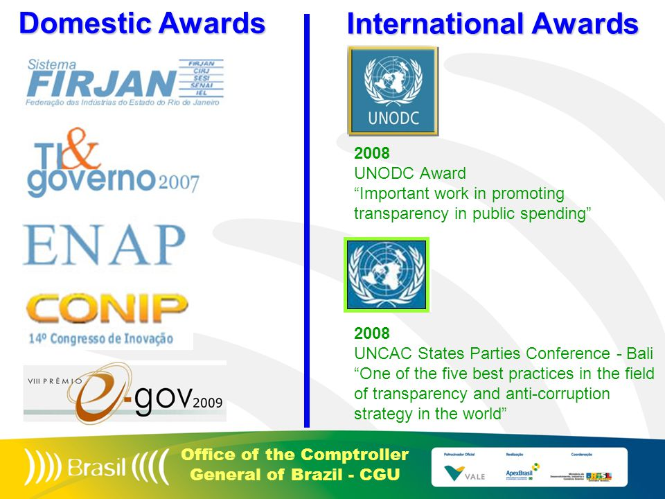 Office of the Comptroller General of Brazil - CGU Domestic Awards International Awards 2008 UNODC Award Important work in promoting transparency in public spending 2008 UNCAC States Parties Conference - Bali One of the five best practices in the field of transparency and anti-corruption strategy in the world