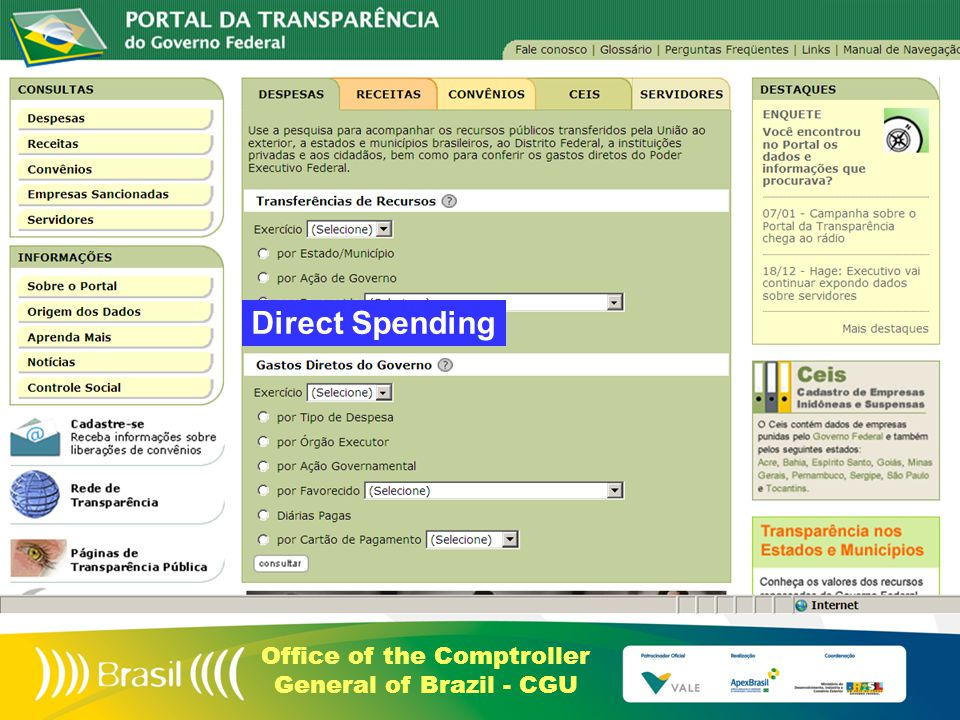 Office of the Comptroller General of Brazil - CGU Direct Spending