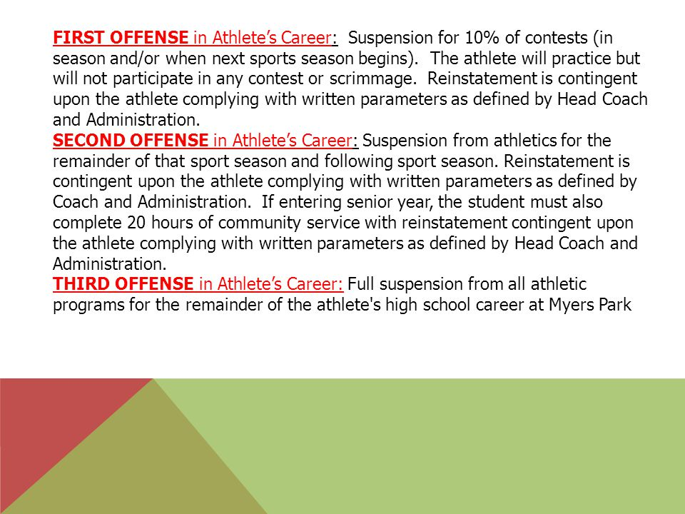 FIRST OFFENSE in Athlete's Career: Suspension for 10% of contests (in season and/or when next sports season begins).