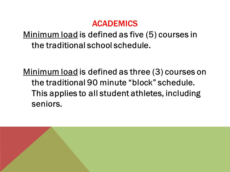 ACADEMICS Minimum load is defined as five (5) courses in the traditional school schedule.