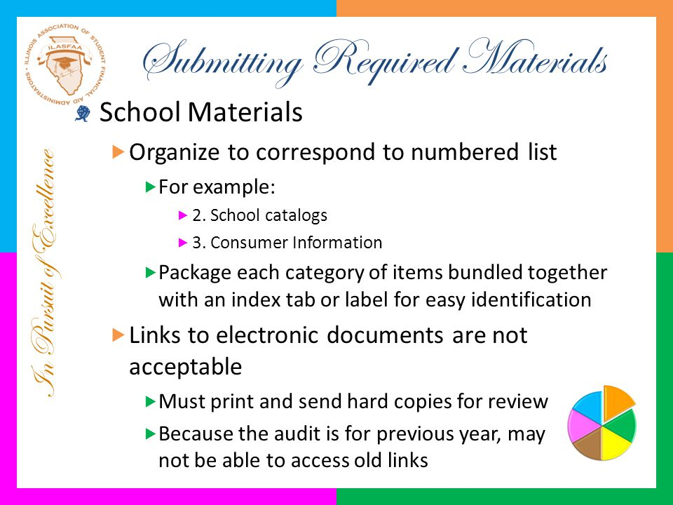 In Pursuit of Excellence Submitting Required Materials School Materials  Organize to correspond to numbered list  For example:  2. School catalogs