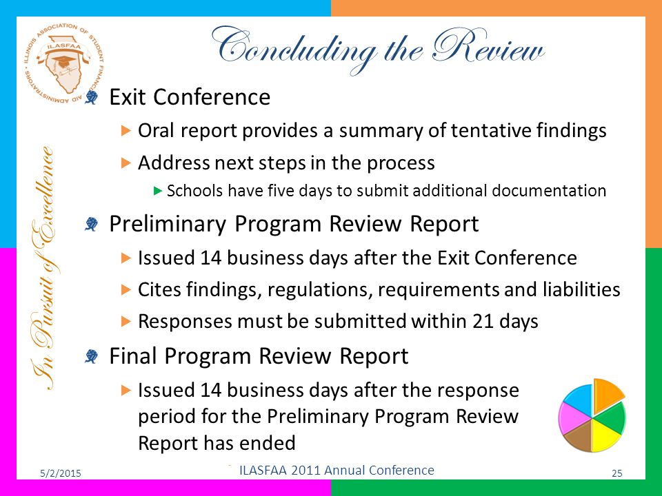 In Pursuit of Excellence Concluding the Review Exit Conference  Oral report provides a summary of tentative findings  Address next steps in the proc