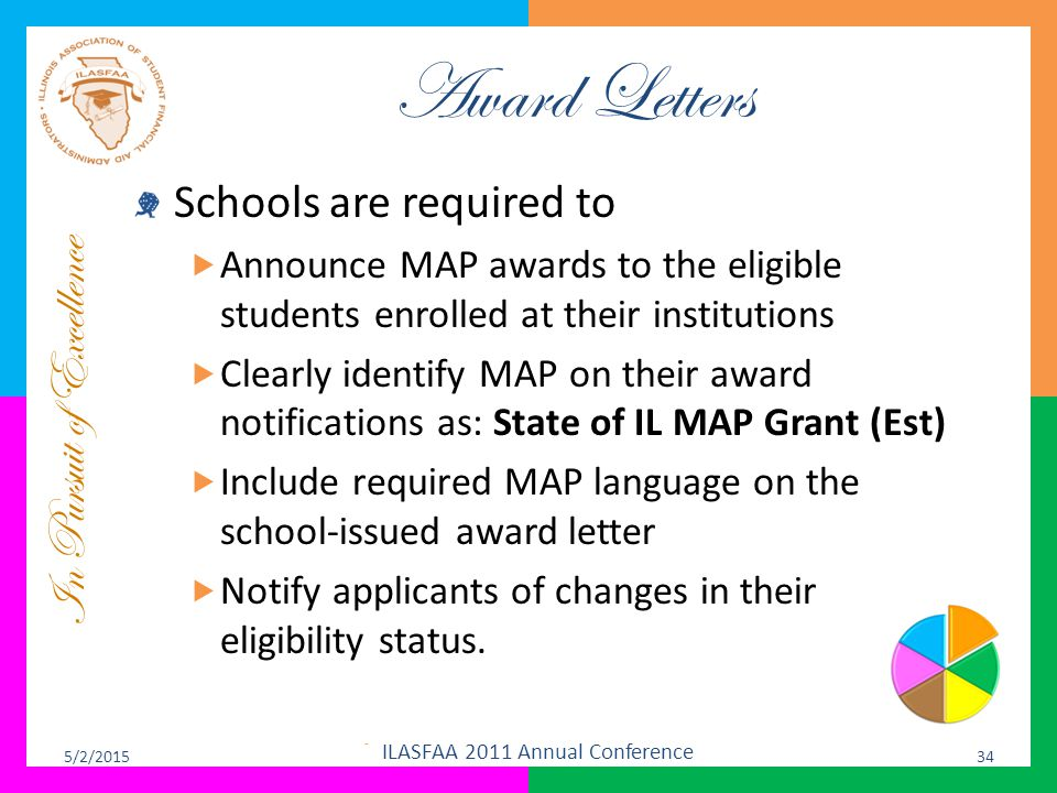 In Pursuit of Excellence Award Letters Schools are required to  Announce MAP awards to the eligible students enrolled at their institutions  Clearly