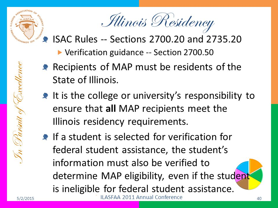 In Pursuit of Excellence Illinois Residency ISAC Rules -- Sections 2700.20 and 2735.20  Verification guidance -- Section 2700.50 Recipients of MAP mu