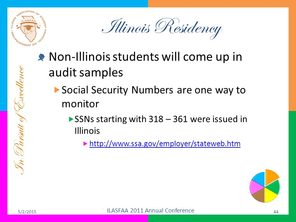 In Pursuit of Excellence Illinois Residency Non-Illinois students will come up in audit samples  Social Security Numbers are one way to monitor  SSN