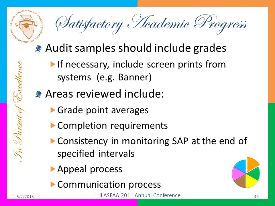 In Pursuit of Excellence Satisfactory Academic Progress Audit samples should include grades  If necessary, include screen prints from systems (e.g. B