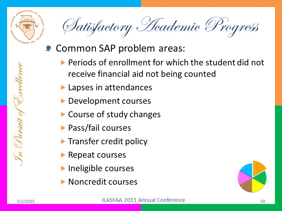 In Pursuit of Excellence Satisfactory Academic Progress Common SAP problem areas:  Periods of enrollment for which the student did not receive financ