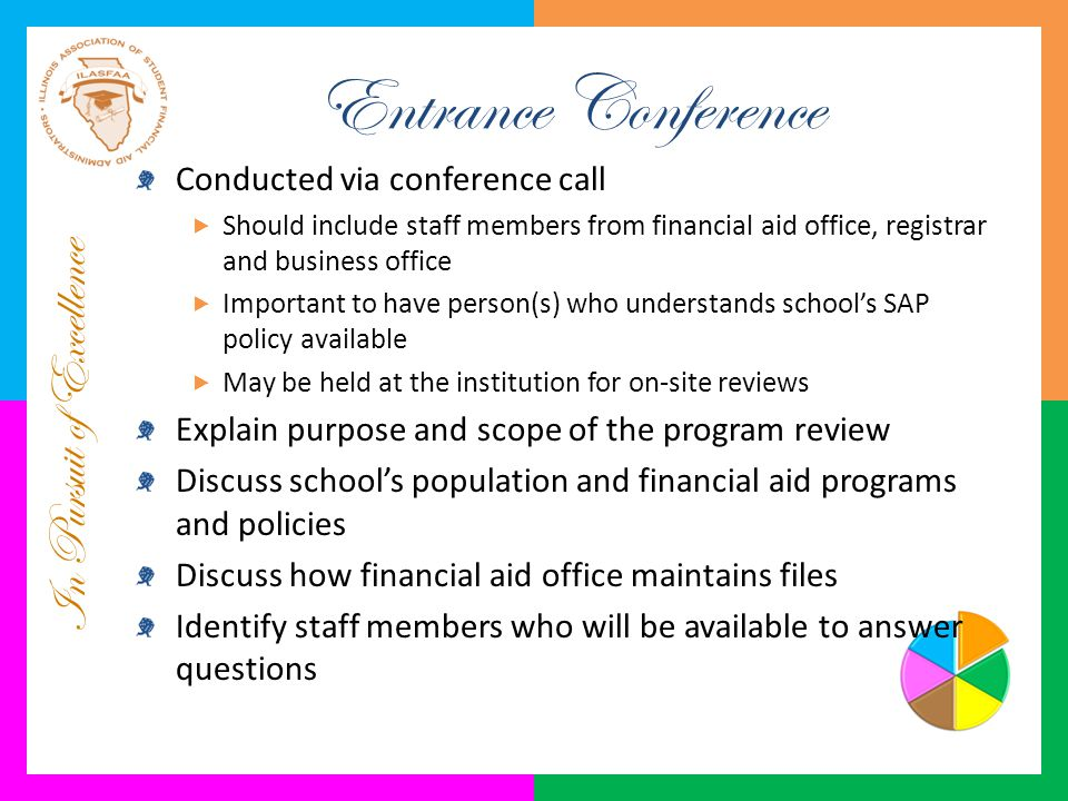 In Pursuit of Excellence Entrance Conference Conducted via conference call  Should include staff members from financial aid office, registrar and bus