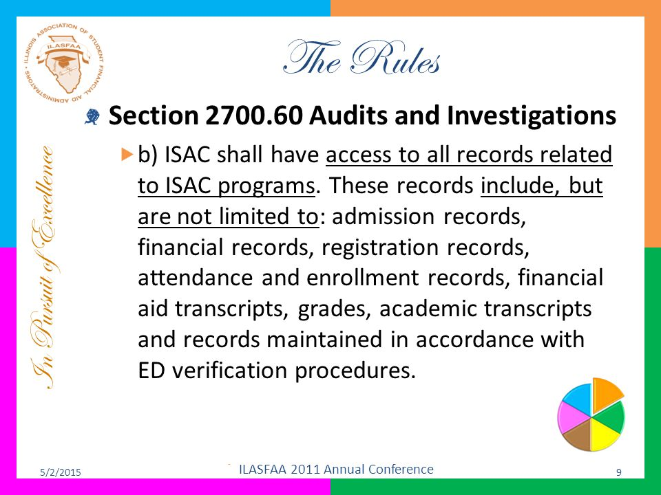 In Pursuit of Excellence The Rules Section 2700.60 Audits and Investigations  b) ISAC shall have access to all records related to ISAC programs. Thes