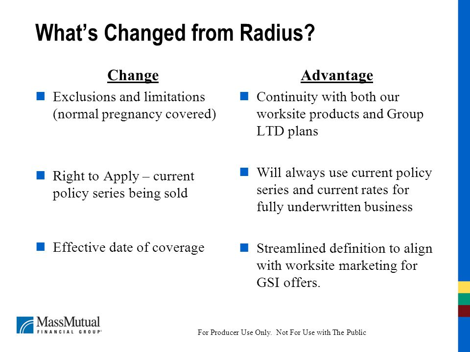 For Producer Use Only.Not For Use with The Public What's Changed from Radius.