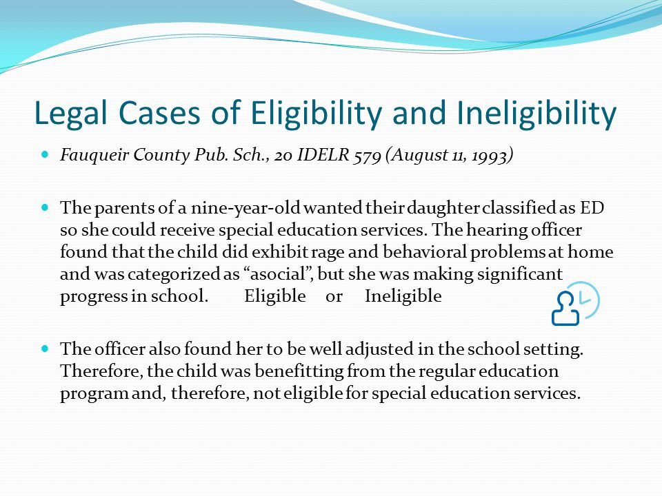 Legal Cases of Eligibility and Ineligibility Fauqueir County Pub.