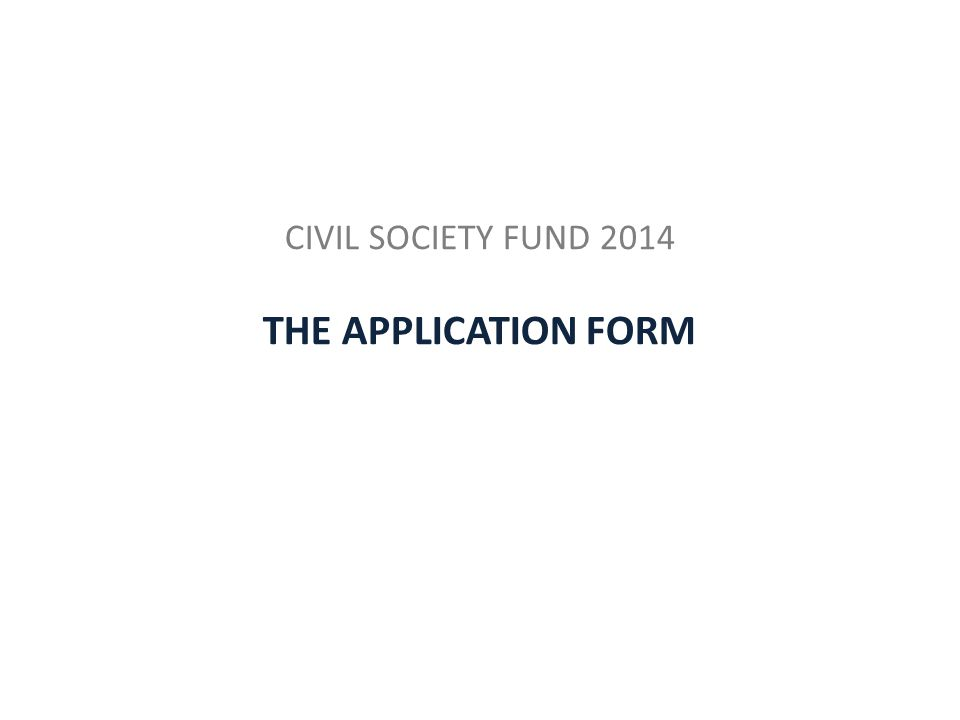 CIVIL SOCIETY FUND 2014 THE APPLICATION FORM