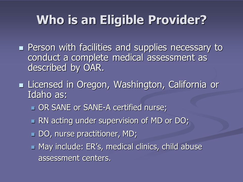 Who is an Eligible Provider.