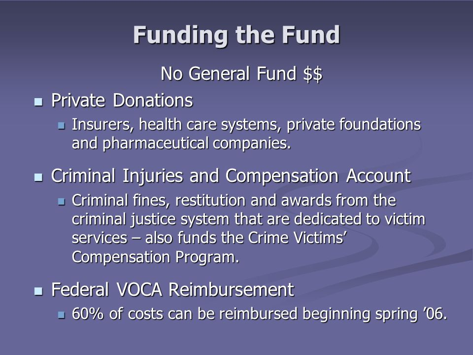 Funding the Fund No General Fund $$ Private Donations Private Donations Insurers, health care systems, private foundations and pharmaceutical companies.