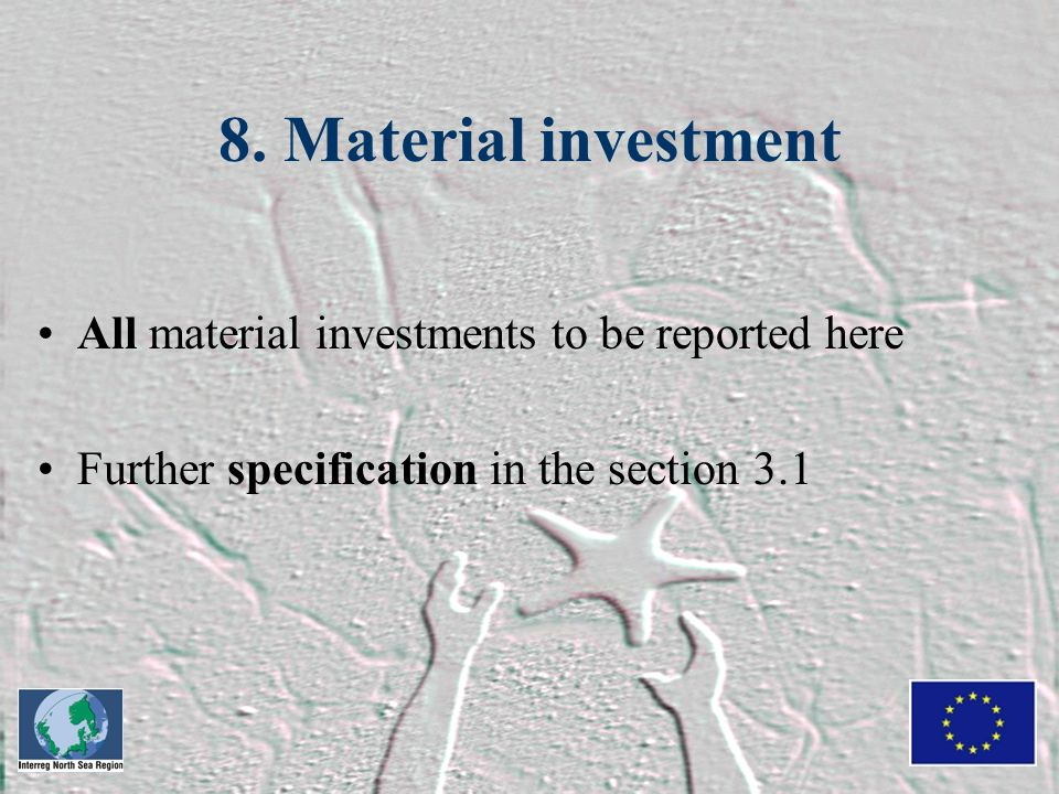 8. Material investment All material investments to be reported here Further specification in the section 3.1