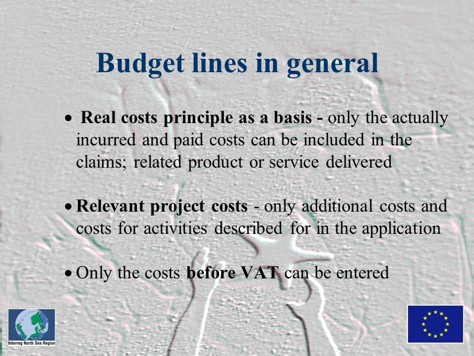 Budget lines in general  Real costs principle as a basis - only the actually incurred and paid costs can be included in the claims; related product or service delivered  Relevant project costs - only additional costs and costs for activities described for in the application  Only the costs before VAT can be entered