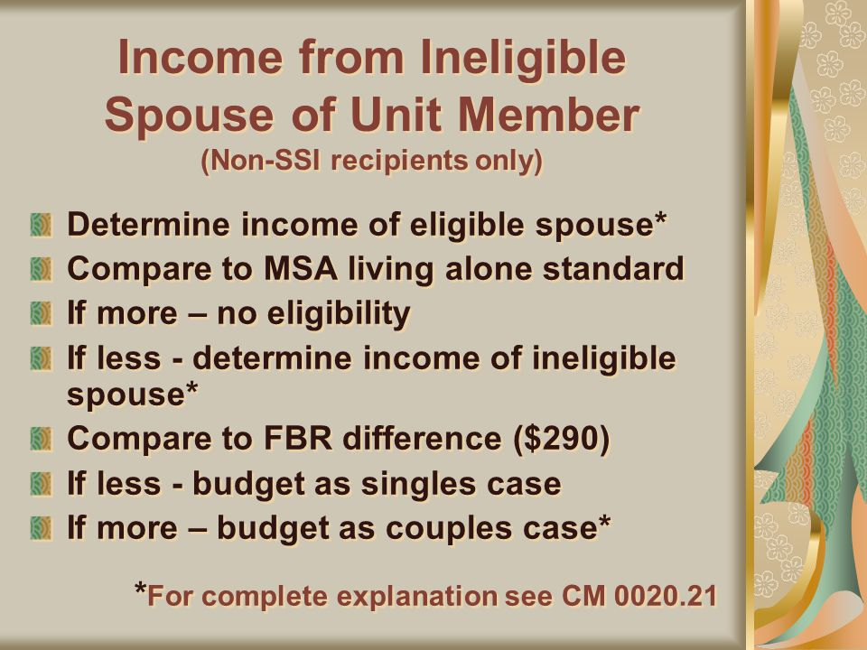 Income from Ineligible Spouse of Unit Member (Non-SSI recipients only) Determine income of eligible spouse* Compare to MSA living alone standard If more – no eligibility If less - determine income of ineligible spouse* Compare to FBR difference ($290) If less - budget as singles case If more – budget as couples case* * For complete explanation see CM 0020.21 Determine income of eligible spouse* Compare to MSA living alone standard If more – no eligibility If less - determine income of ineligible spouse* Compare to FBR difference ($290) If less - budget as singles case If more – budget as couples case* * For complete explanation see CM 0020.21