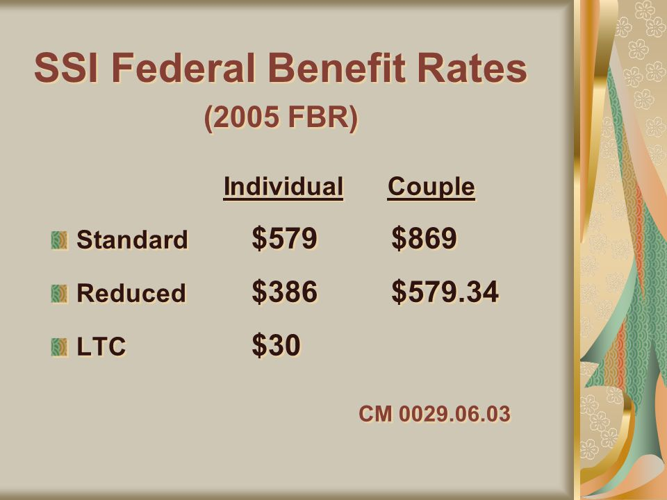 SSI Federal Benefit Rates (2005 FBR) Standard $579 $869 Reduced $386 $579.34 LTC $30 CM 0029.06.03 Standard $579 $869 Reduced $386 $579.34 LTC $30 CM 0029.06.03 Individual Couple