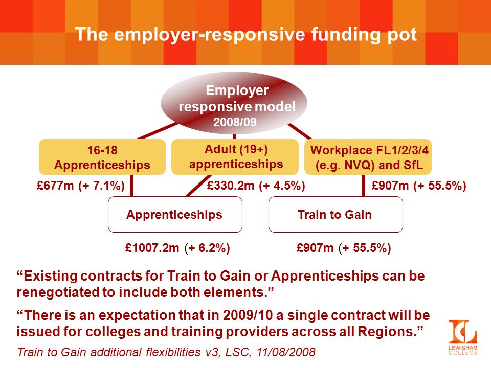 The employer-responsive funding pot Adult (19+) apprenticeships £330.2m (+ 4.5%) 16-18 Apprenticeships £677m (+ 7.1%) Workplace FL1/2/3/4 (e.g.