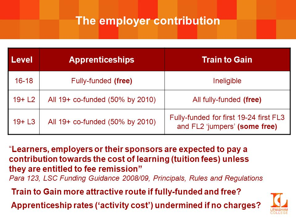 The employer contribution LevelApprenticeshipsTrain to Gain 16-18Fully-funded (free)Ineligible 19+ L2All 19+ co-funded (50% by 2010)All fully-funded (free) 19+ L3All 19+ co-funded (50% by 2010) Fully-funded for first 19-24 first FL3 and FL2 'jumpers' (some free) Learners, employers or their sponsors are expected to pay a contribution towards the cost of learning (tuition fees) unless they are entitled to fee remission Para 123, LSC Funding Guidance 2008/09, Principals, Rules and Regulations Train to Gain more attractive route if fully-funded and free.