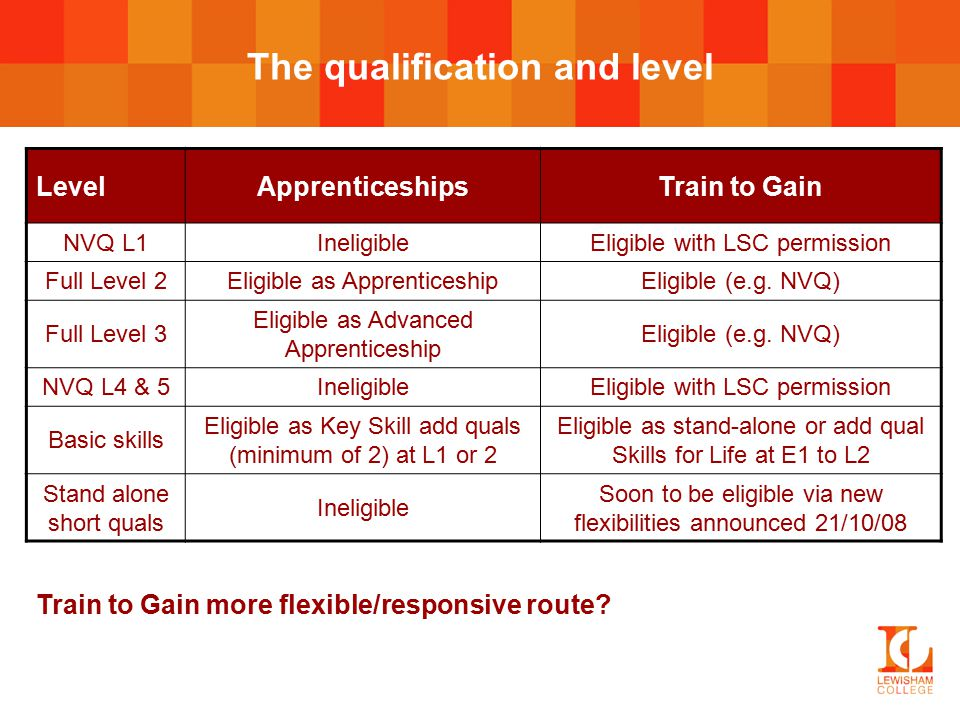The qualification and level LevelApprenticeshipsTrain to Gain NVQ L1IneligibleEligible with LSC permission Full Level 2Eligible as ApprenticeshipEligible (e.g.