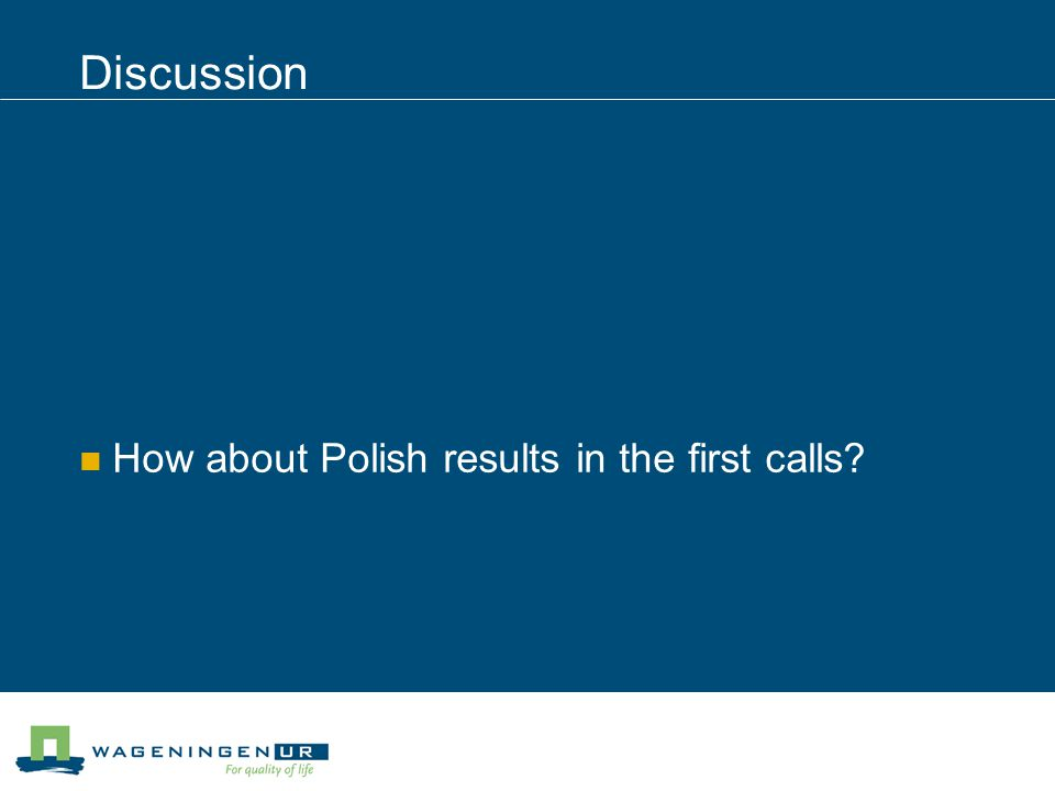 Discussion How about Polish results in the first calls?