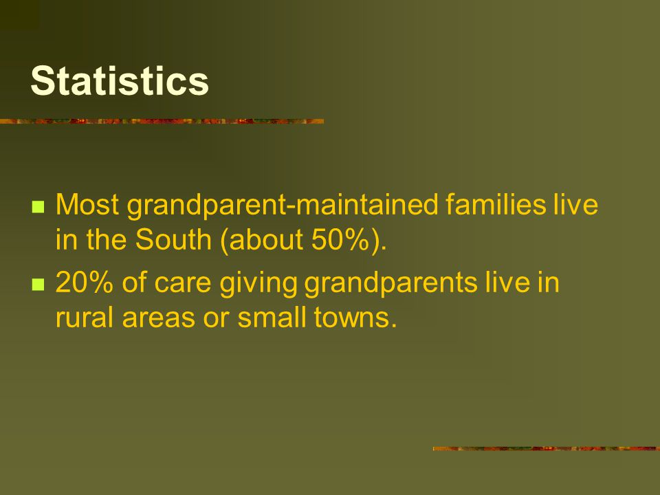 Statistics Most grandparent-maintained families live in the South (about 50%).