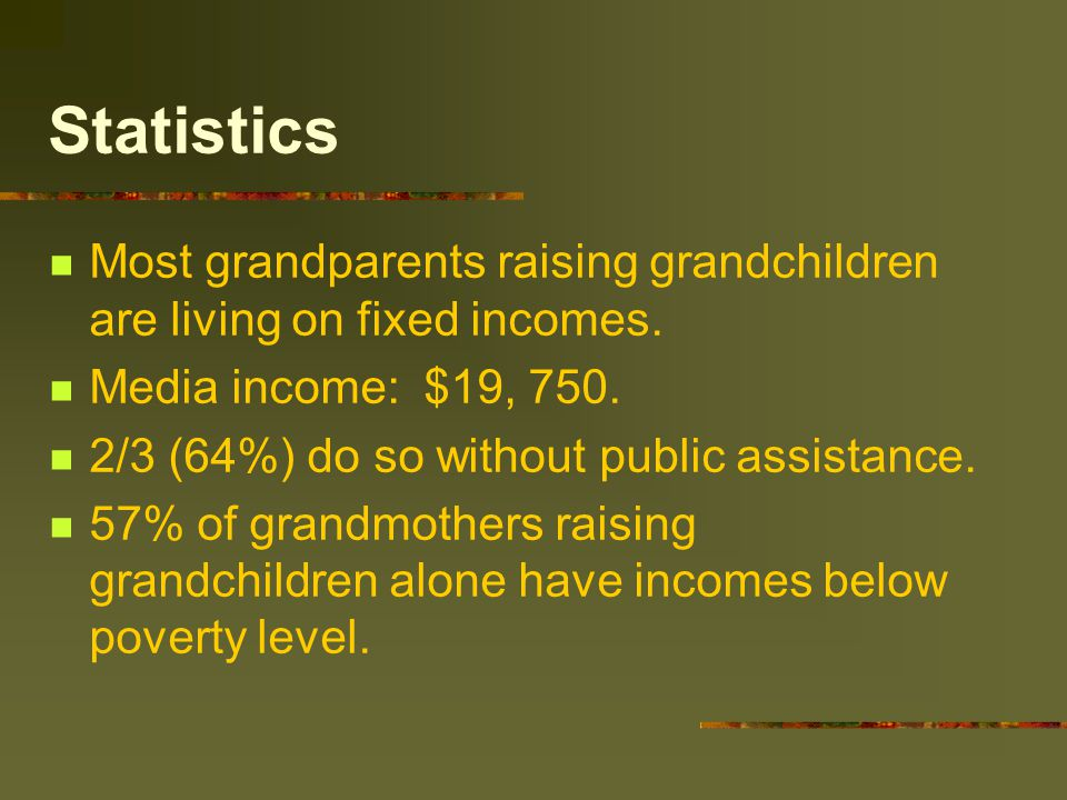 Statistics Most grandparents raising grandchildren are living on fixed incomes. Media income: $19, 750. 2/3 (64%) do so without public assistance. 57%