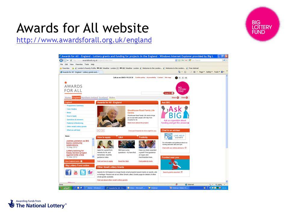 Awards for All website http://www.awardsforall.org.uk/england