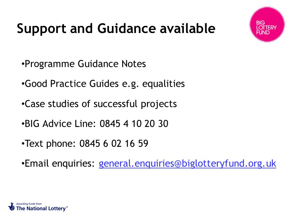 Support and Guidance available Programme Guidance Notes Good Practice Guides e.g.