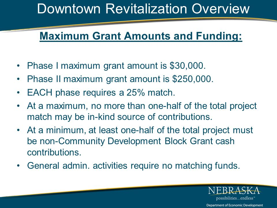 Downtown Revitalization Overview Maximum Grant Amounts and Funding: Phase I maximum grant amount is $30,000.