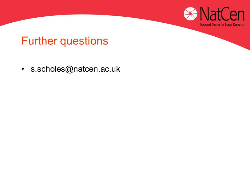 Further questions s.scholes@natcen.ac.uk