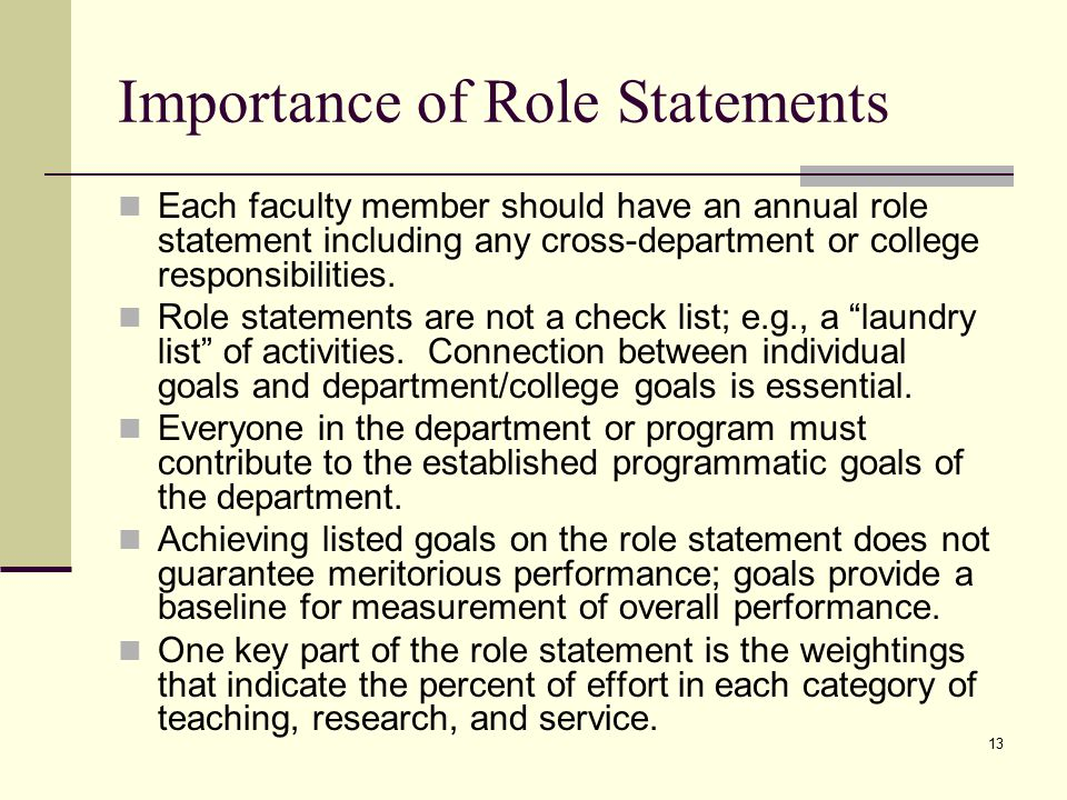 13 Importance of Role Statements Each faculty member should have an annual role statement including any cross-department or college responsibilities.