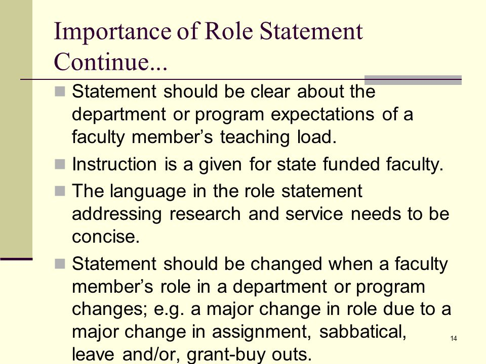 14 Importance of Role Statement Continue...