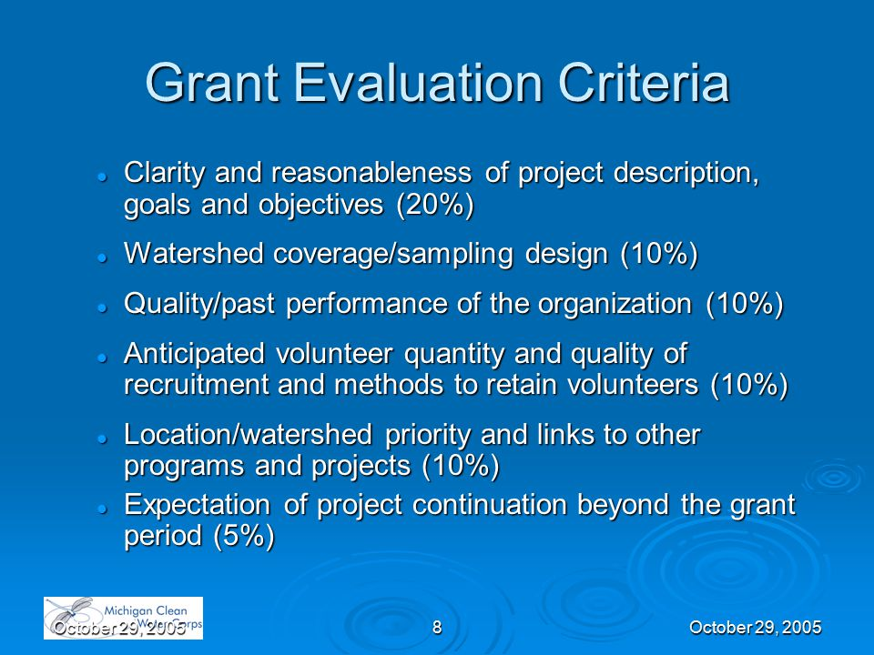 October 29, 20058 Grant Evaluation Criteria Clarity and reasonableness of project description, goals and objectives (20%) Clarity and reasonableness of project description, goals and objectives (20%) Watershed coverage/sampling design (10%) Watershed coverage/sampling design (10%) Quality/past performance of the organization (10%) Quality/past performance of the organization (10%) Anticipated volunteer quantity and quality of recruitment and methods to retain volunteers (10%) Anticipated volunteer quantity and quality of recruitment and methods to retain volunteers (10%) Location/watershed priority and links to other programs and projects (10%) Location/watershed priority and links to other programs and projects (10%) Expectation of project continuation beyond the grant period (5%) Expectation of project continuation beyond the grant period (5%)