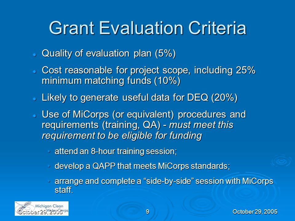 October 29, 20059 Grant Evaluation Criteria Quality of evaluation plan (5%) Quality of evaluation plan (5%) Cost reasonable for project scope, includi