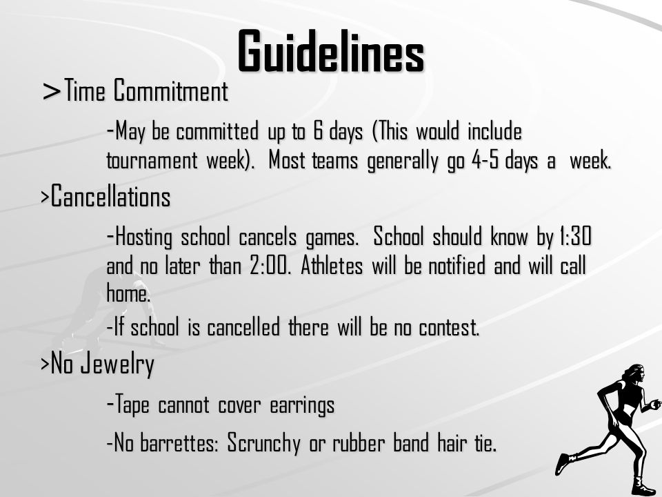 Guidelines > Time Commitment - May be committed up to 6 days (This would include tournament week).