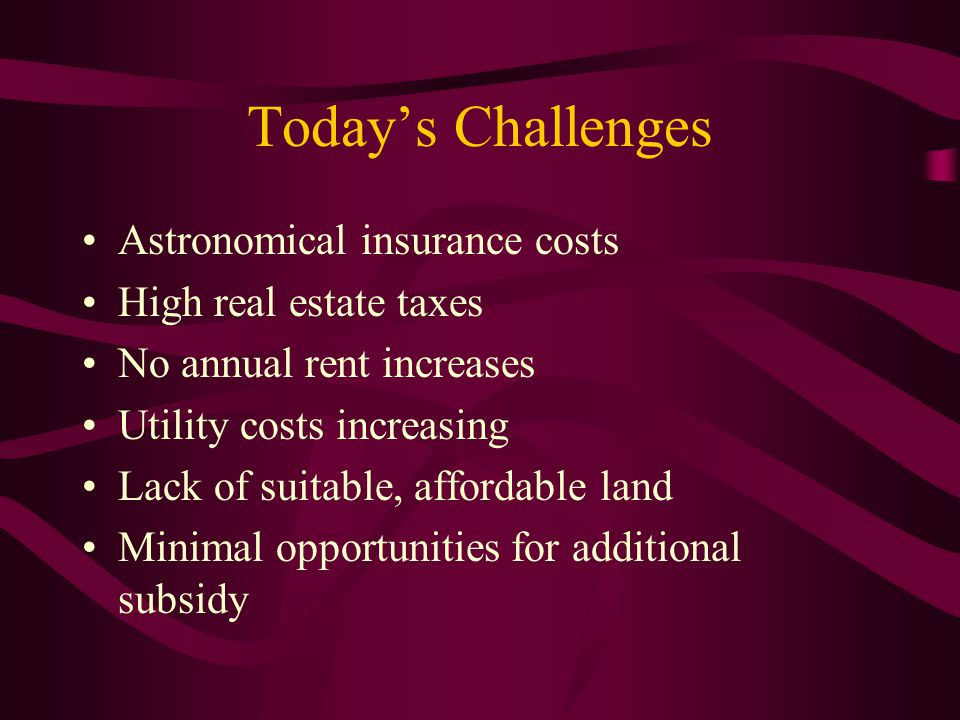 Today's Challenges Astronomical insurance costs High real estate taxes No annual rent increases Utility costs increasing Lack of suitable, affordable land Minimal opportunities for additional subsidy