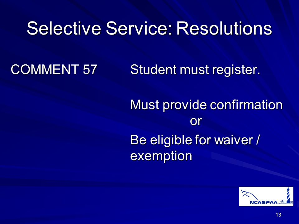 13 Selective Service:Resolutions COMMENT 57Student must register.