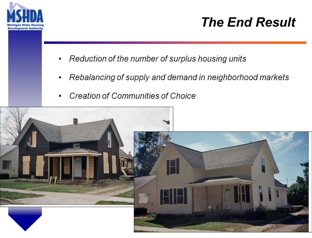 OV # - 21 The End Result Reduction of the number of surplus housing units Rebalancing of supply and demand in neighborhood markets Creation of Communities of Choice